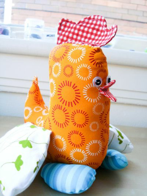 Easter decoration sew orange hen beautiful deco ideas
