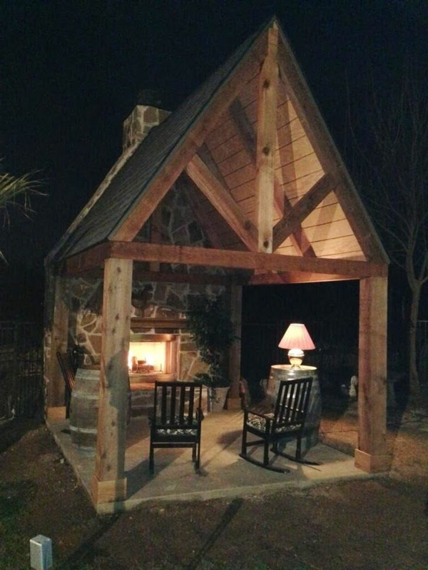 garden gazebo rustic fireplace rocking chairs
