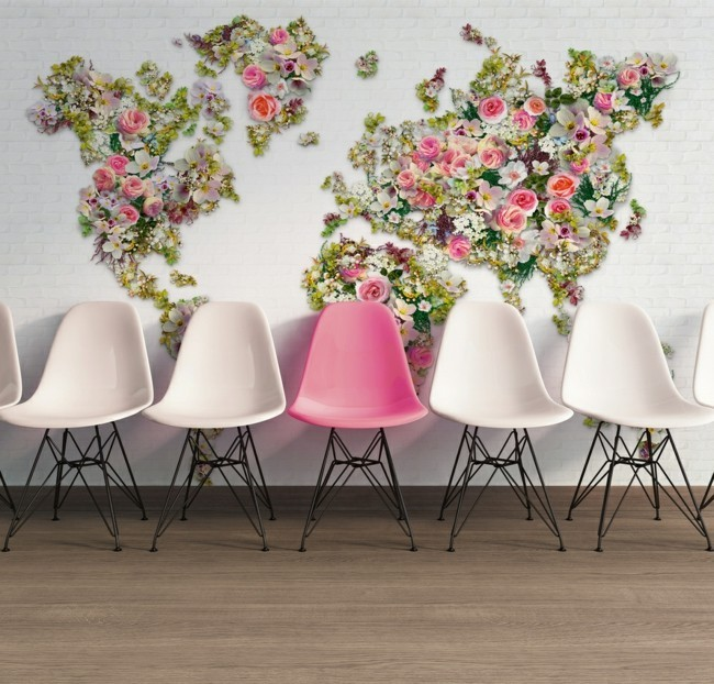 floral wallpaper deco ideas art wall design
