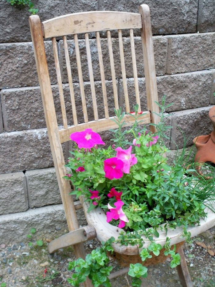 garden decorating toller plant container age chair