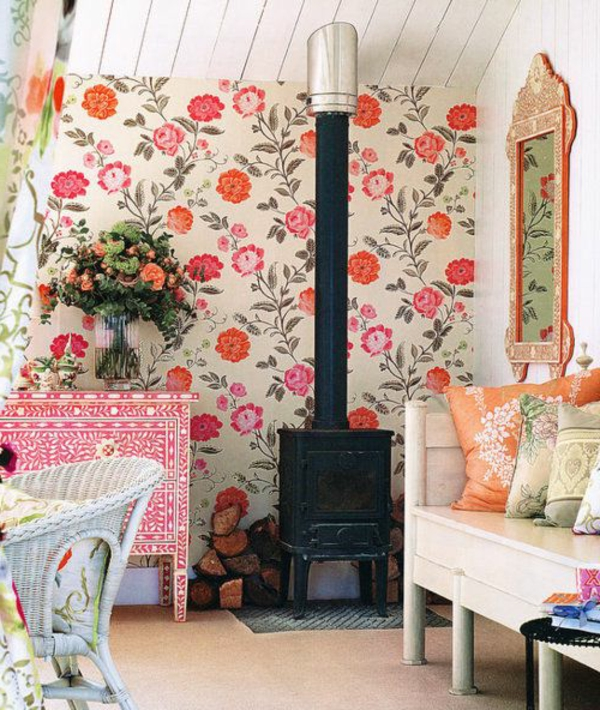 wallpaper country style fresh wall design flowers