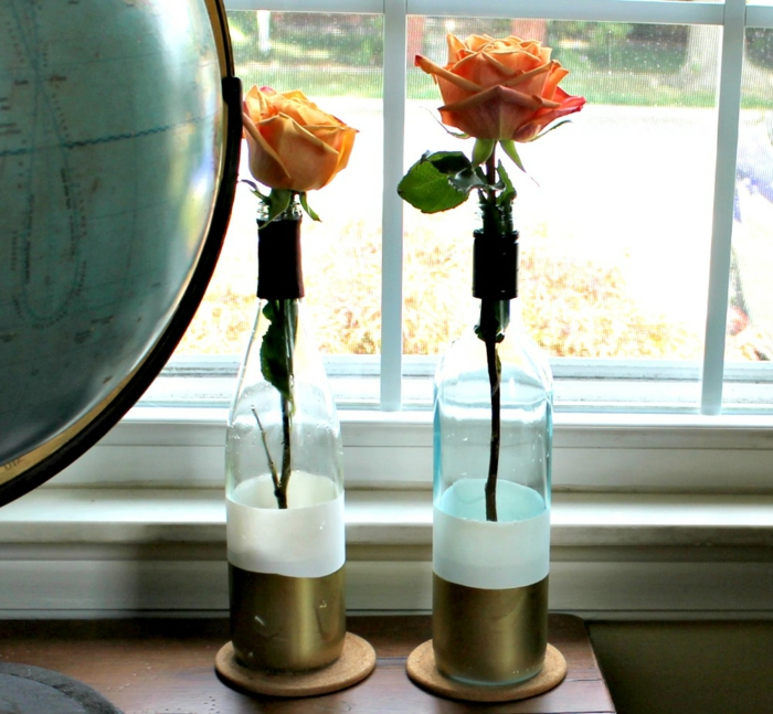 deco bottles of wine bottles candle holders