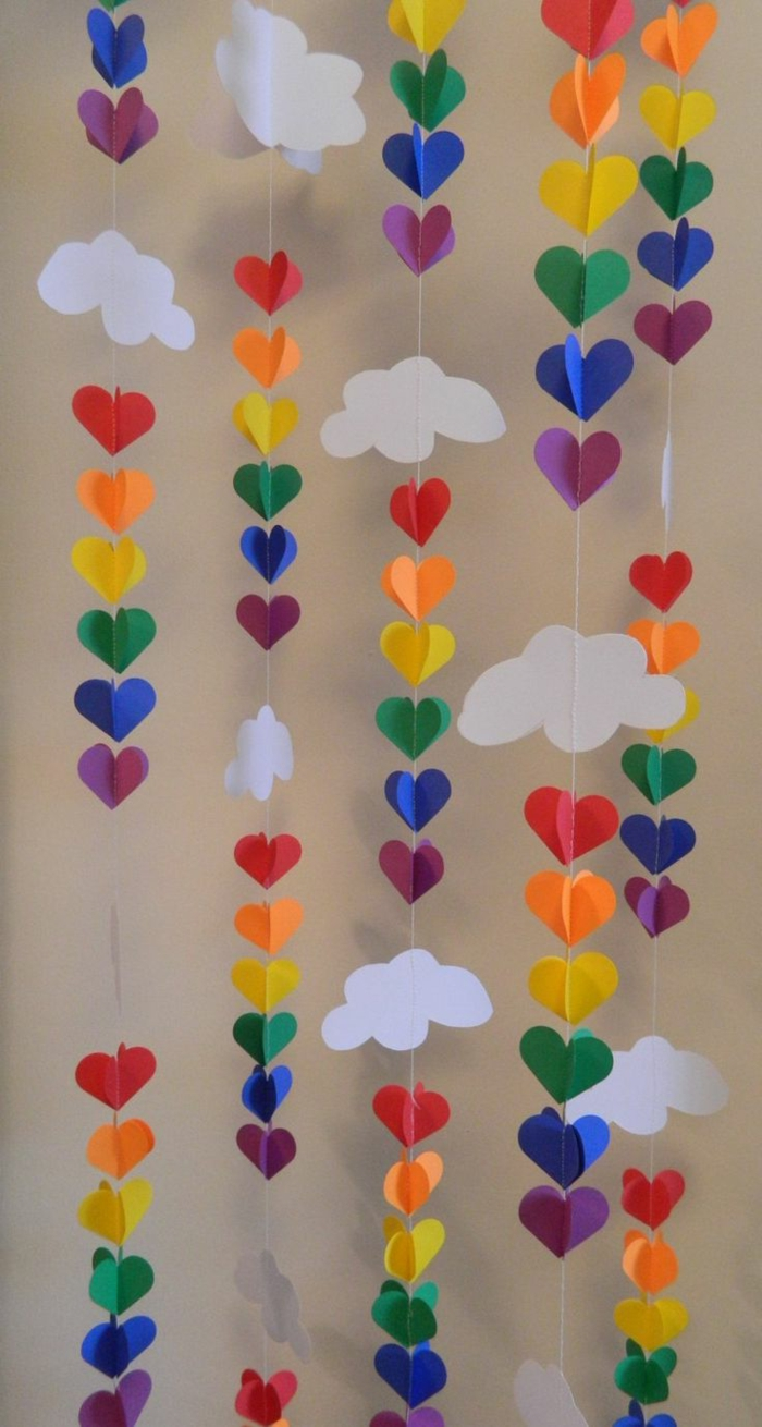 party decoration ideas colored diy garlands hang up