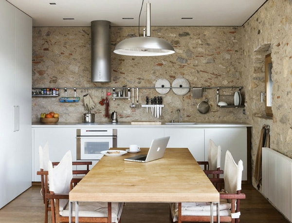 modern country kitchen kitchens wooden table stone wall