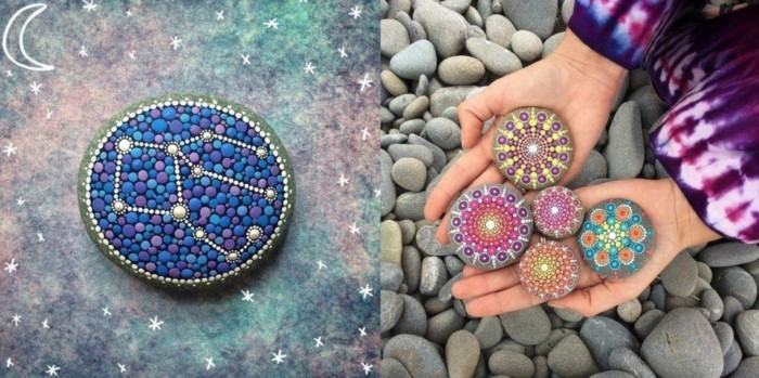 Manala pattern stones painted with natural materials