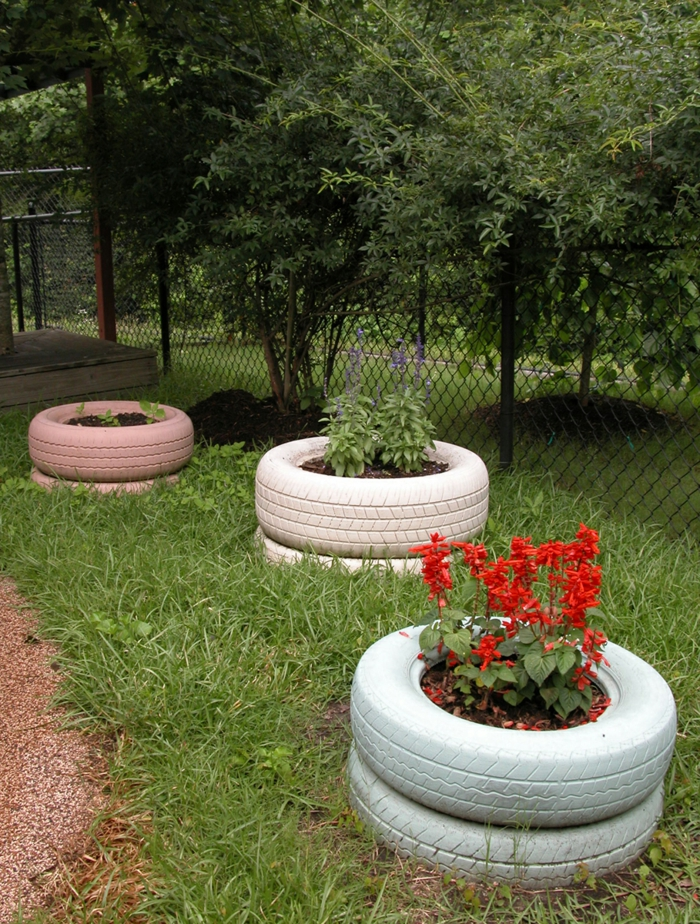 garden decoration ideas old car tire plant container