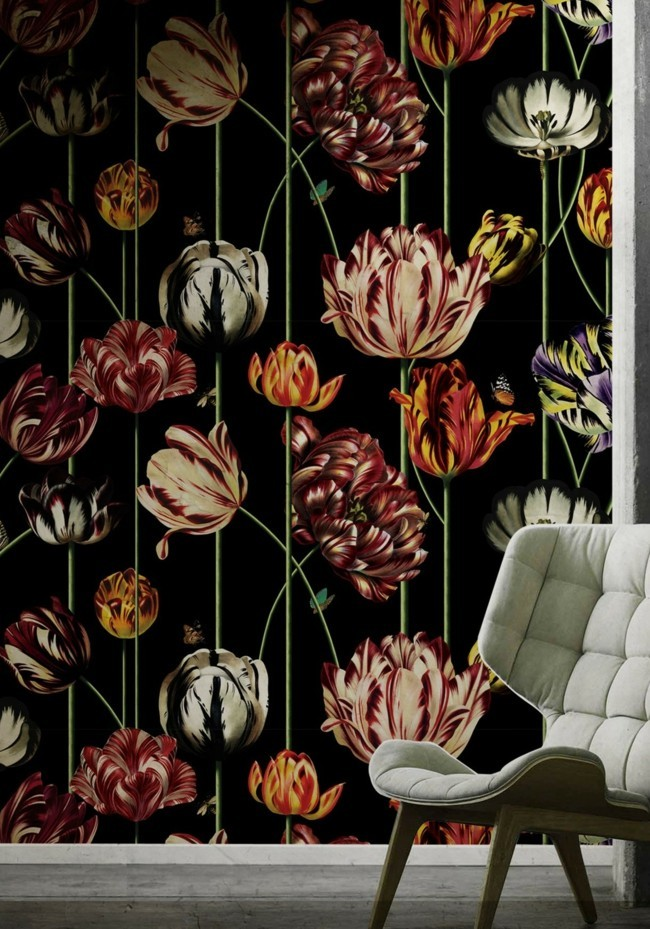 Vintage colors design elements floral wallpaper