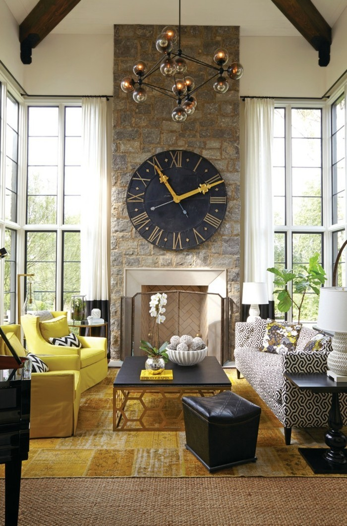 wall clock vintage living room fireplace yellow armchair