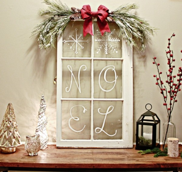 Rustic Christmas decoration with window