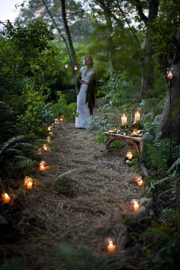 Wedding outside in the woods
