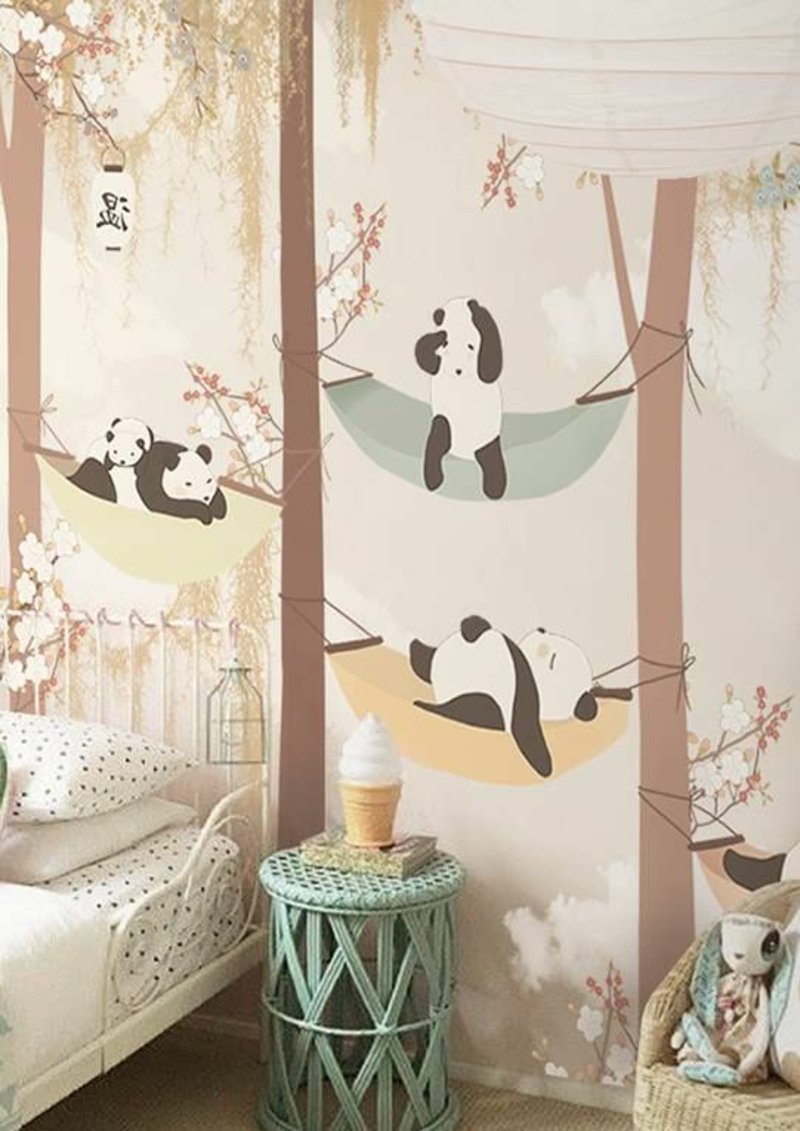 Pattern wallpaper Panda bears in the forest Wallpaper Kids room design