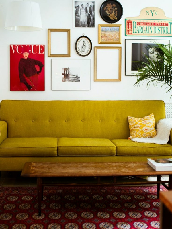 Mustard colored sofa