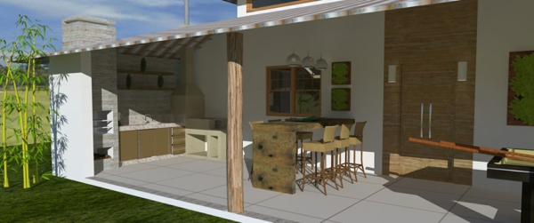 balcony roofing table with stools outdoor kitchen