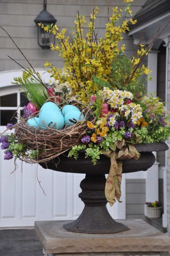 Easter decoration for outdoors beautiful flower arrangement