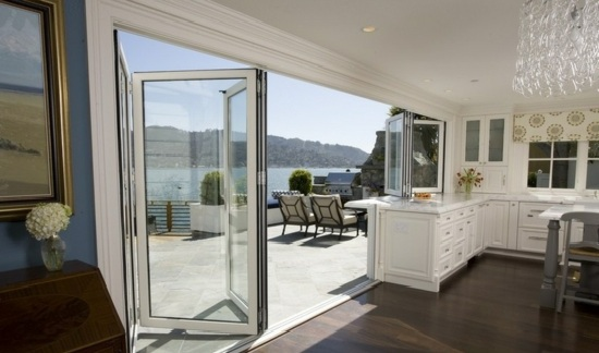 balcony furniture interior outdoor area wood balcony glass doors sea view