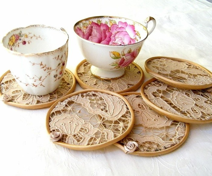 glass coasters wood and net