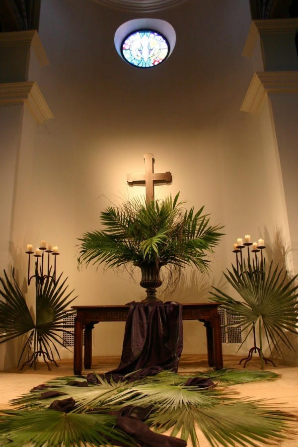Church decorate palm branches on Palm Sunday