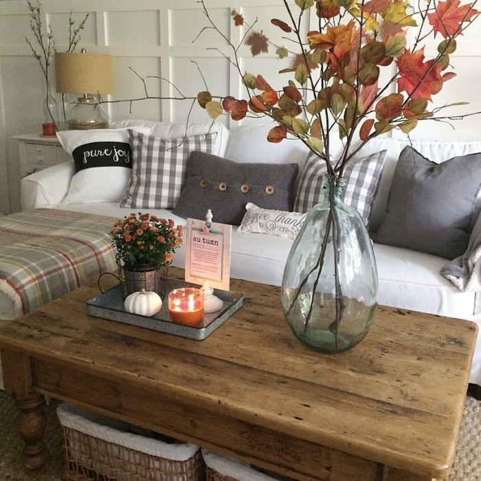 table decoration autumn coffee table with branches