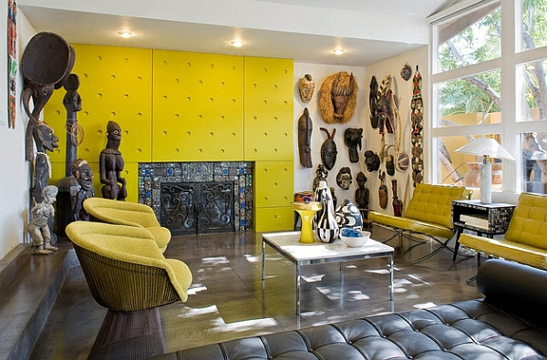 africa deco wall decoration with african wooden masks