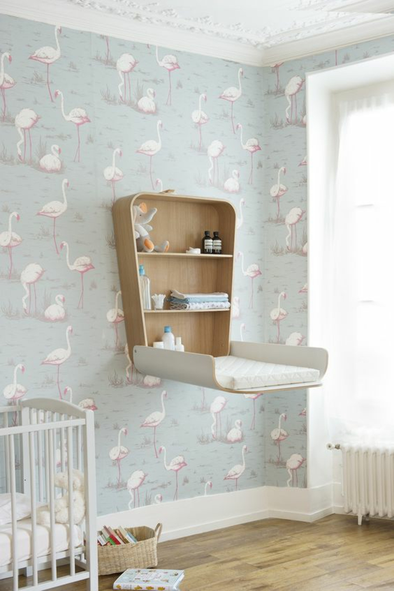 Wallpaper Kids room pattern wallpapers Flamingos diaper table