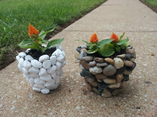 Ornament with stones DIY planter