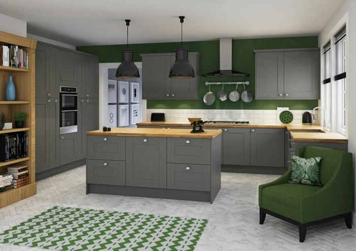 combination of green and gray for kitchens