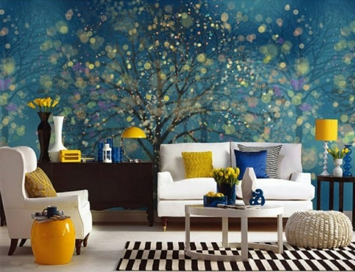 wall painting living room accent wall white furniture
