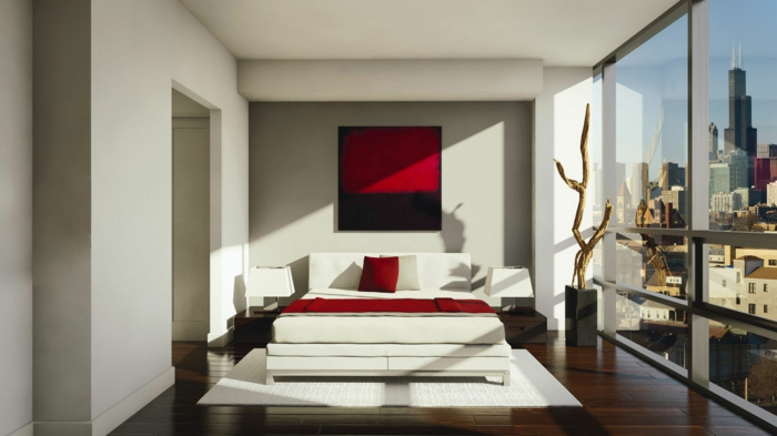 bedroom decorate red accents white furniture