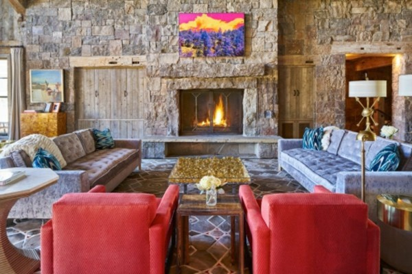 stone walls furnishing ideas blue and red