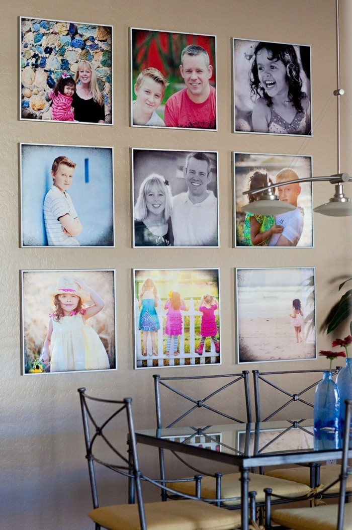 colored family photos as a dining room wall decoration