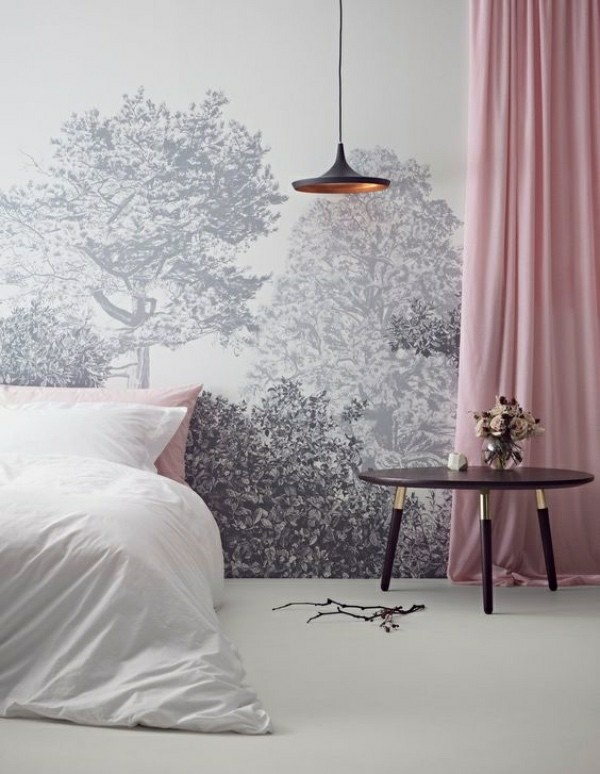 subtle wallpaper with a forest photo wallpaper bedroom