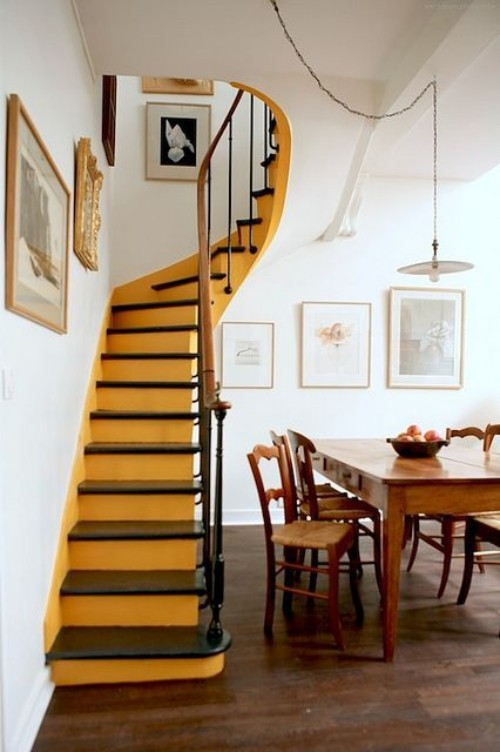 yellow staircase wall colors ideas