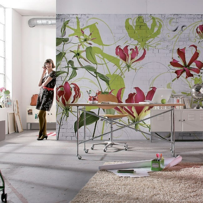 Decorative ideas art floral wallpaper
