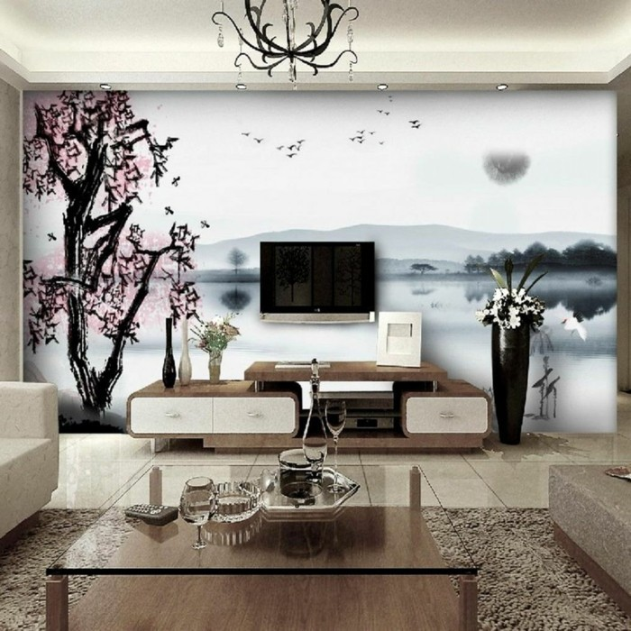 wall painting accent wall wallpaper floral pattern