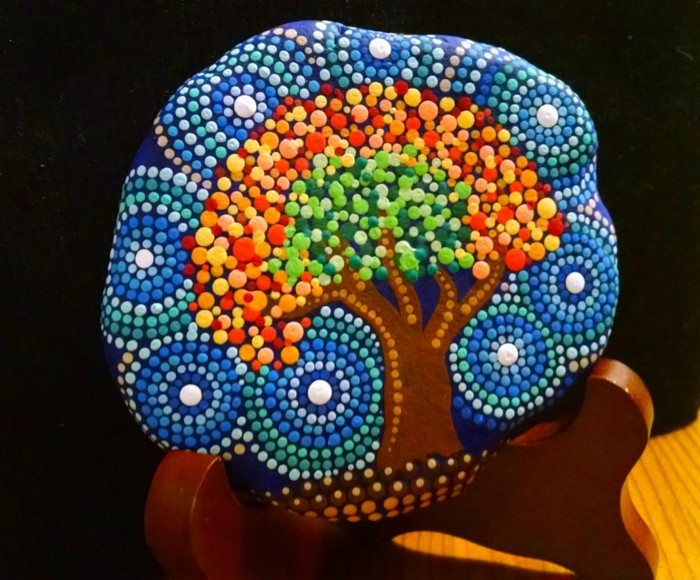 Manala pattern stones painted tree of life