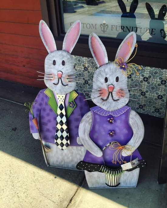 Easter decoration for outside Easter bunnies in ultra violet