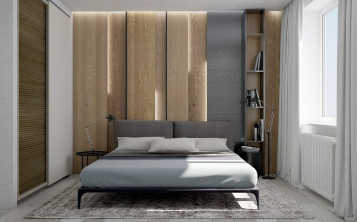 Wooden wall with wood panels