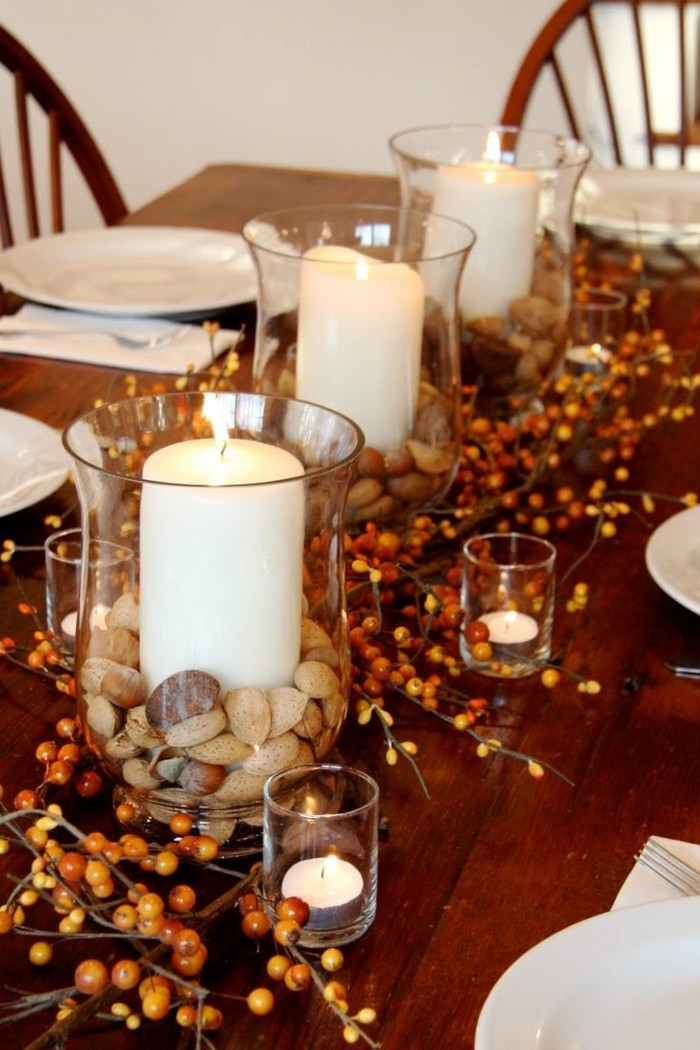 table decoration autumn with fruits and candles