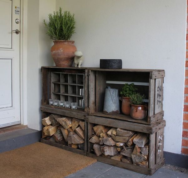 old wooden boxes of firewood storage indoors