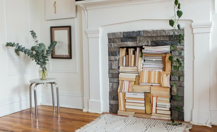Flat Decorate Decorations Living Room Fireplace Books