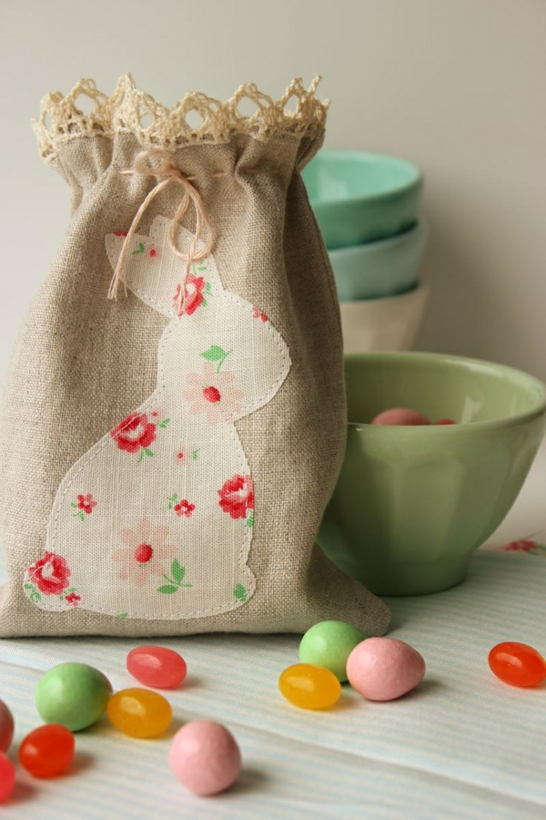 easter decoration sewing easter bunny illustration bag