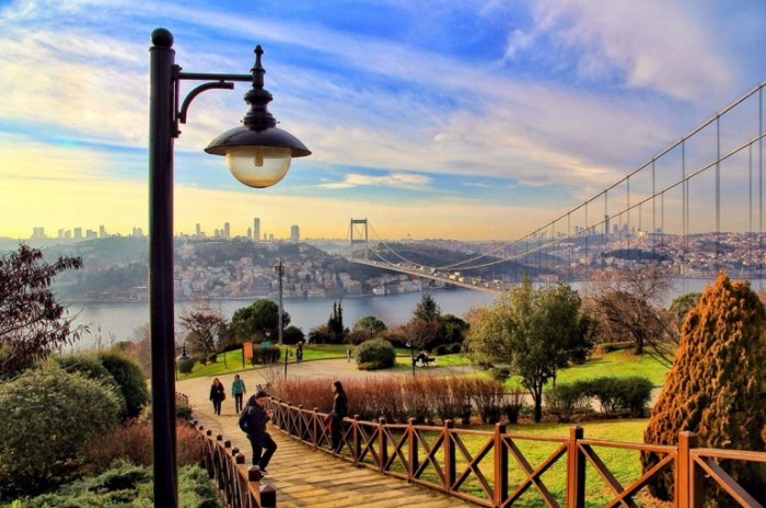 Bridge Bosphorus connects Orient with Occident Istanbul