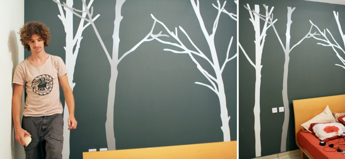 wall decoration ideas diy wall decoration forest motifs white gray