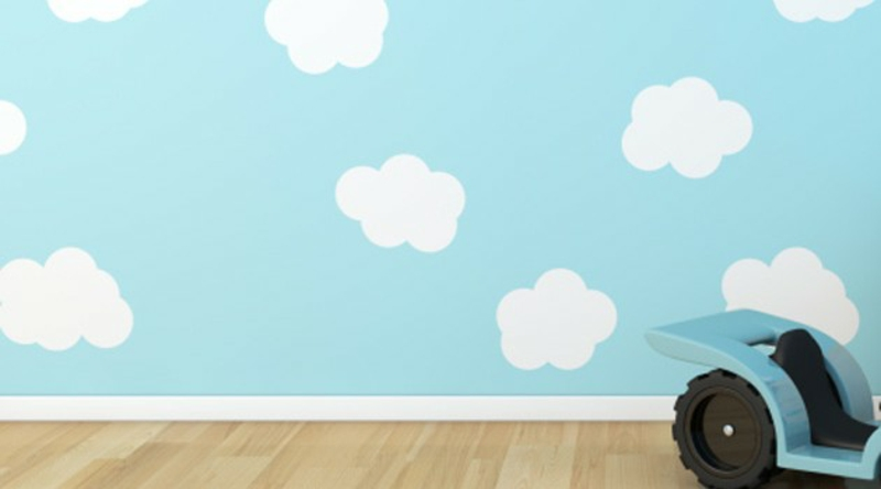 Wallpaper nursery blue sky with white clouds