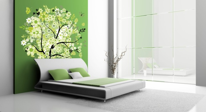 wall decoration ideas bedroom green accent wall tree