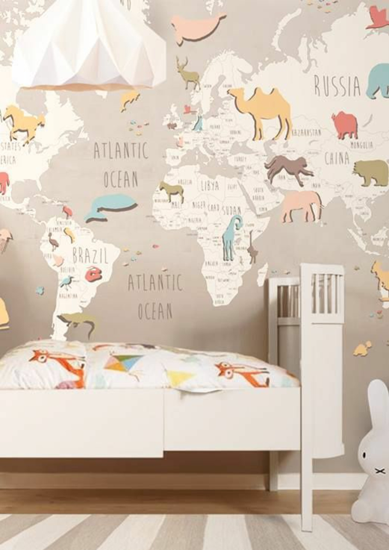 Wallpaper nursery funny world map accent wall