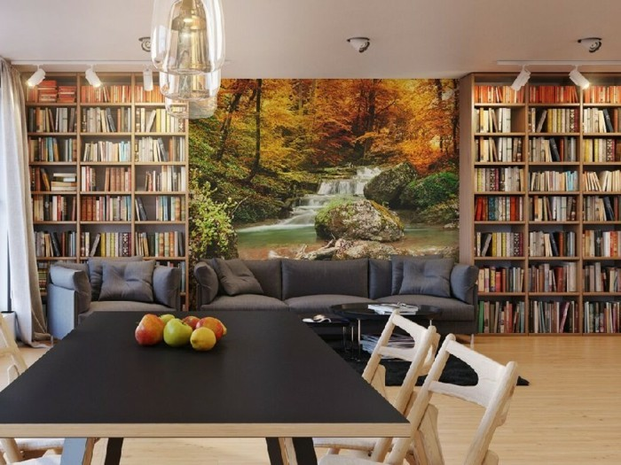 wall painting living area decorating library