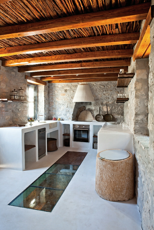 modern country kitchen kitchens stone wall roof wood