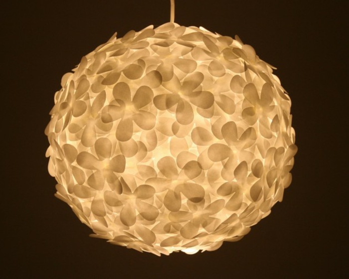 Paper lights hanging lamp round white stylized flowers