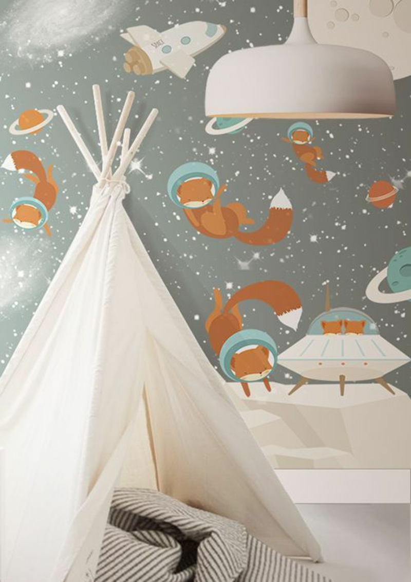 Patterned wallpaper foxes in space design wallpaper for kids room